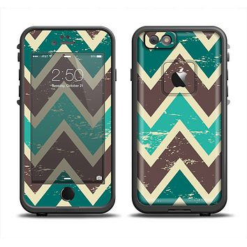 The Vintage Green & Tan Chevron Pattern V3 Apple iPhone 6 LifeProof Fre Case Skin Set