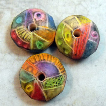 3 Multicolored Artisan Beads Handmade from Polymer Clay
