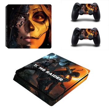 Shadow of The Tomb Raider PS4 Slim Skin Sticker Vinyl For PlayStation 4 Console and 2 Controllers PS4 Slim Skin Stickers Decal