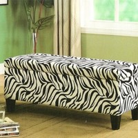 A.M.B. Furniture & Design :: Living room furniture :: Ottomans & Footstools :: 3 pc Zebra print chenille fabric upholstered Storage bench and ottoman set
