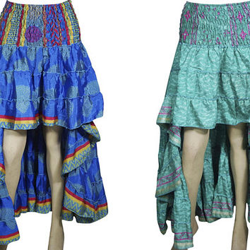 Boho Medley 2pc Hi Low Skirt Recycled Vintage Sari Gypsy Fashion Long Ruffle Flirty Flare Summer Skirts S/M