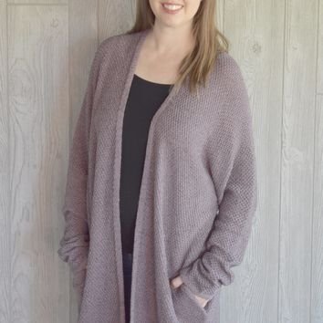 Only Hope Mauve Oversized Cardigan