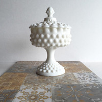 Vintage Fenton Hobnail Milk Glass Footed Candy Dish