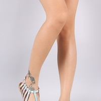 Qupid Holographic T-Strap Cutout Caged Flat Sandal