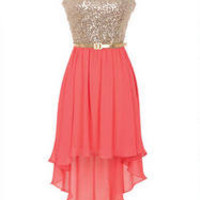 Gold and Coral High Low Party Dress