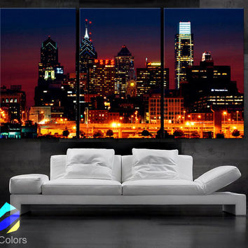 "LARGE 30""x 60"" 3 Panels Art Canvas Print Beautiful Philadelphia skyline light buildings Downtown Wall Home (Included framed 1.5"" depth)"