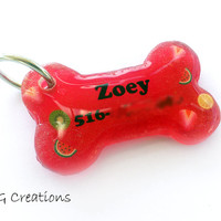 Red Fruit resin Bone Dog Tag - Glitter or shimmer - Personalized Custom Handmade Pet ID - Resin - Colorful Pet Collar Accessory Waterproof