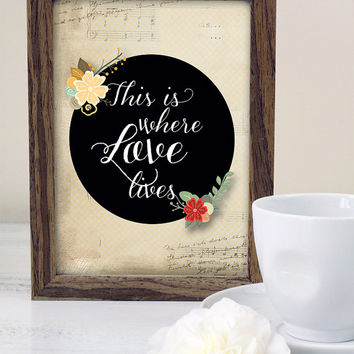 INSTANT DOWNLOAD: This is where Love lives, Inspirational Quote, Home/Kitchen/Office Decor