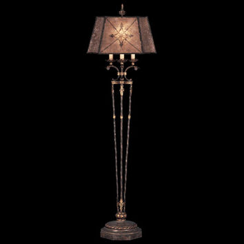 Fine Art Lamps 166120ST Villa 1919 One-Light Floor Lamp in Rich Umber Finish and Gilded Accents with Hand Painted Mica Shade