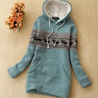 Casual Lovely Womens Hooded Hoodies Pullover Sweats Outerwears Long Sleeve 4786