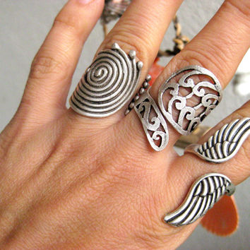 Swirl Ring Boho Gypsy Tribal Bohemian Style  Antique Silver