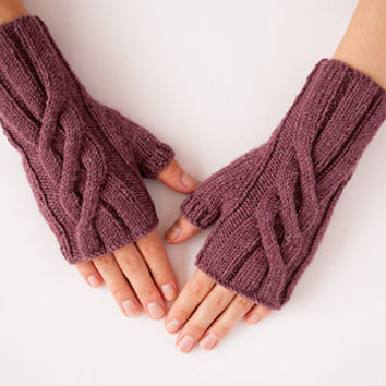 Lavender Hand knitted Women Fingerless Gloves Violet Purple - Accessory