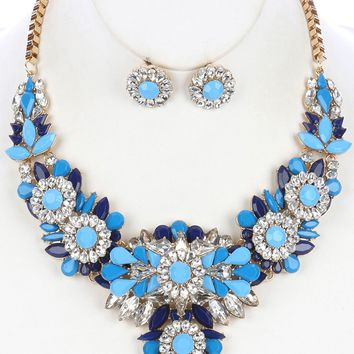 Blue Color And Clear Lucite Cluster Chunky Bib Necklace And Earring Set