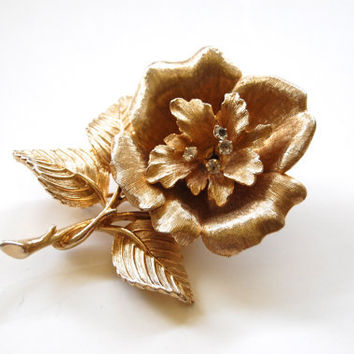 Vintage Gold Tone Rose Brooch with Rhinestones