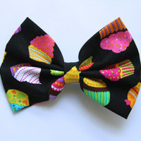 Black Cupcake Hair Bow - Black Bow with Colorful Cupcake Pattern Hair Bow with Clip