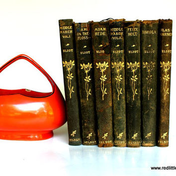7 Soft Leather Bound Books of George Elliot's Works from the early 1910's desk accessories, book shelves, home decor, reading