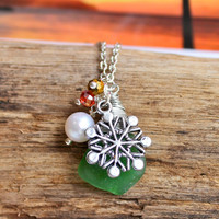 Beach Glass Jewelry from Hawaii Snowflake Necklace with green Hawaiian seaglass by Mermaid Tears