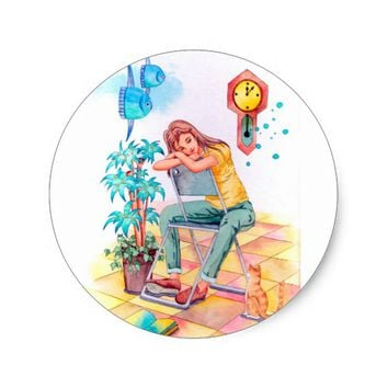 Rest time classic round sticker