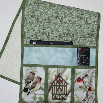 Quilted Armchair Caddy, Bedside Caddy, Birds and Birdhouse