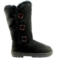 Womens Triplet Button Fully Fur Lined Waterproof Winter Snow Boots