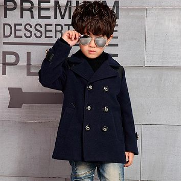 2017 spring/autumn baby boy's jacket coat outerwear wool and blend coat boy's trench children autumn clothing 4-10 year 16854