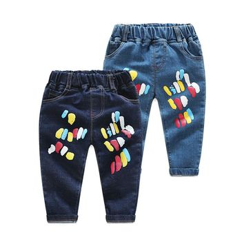 2017 Autumn boys girl Jeans cotton pants casual Color point printing cowboy baby toddler trousers kids clothes children clothing
