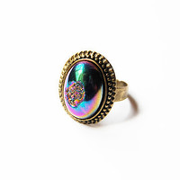 Druzy Mystic, Semiprecious Stone - Handmade Vintage Drusy Cabochon Ring - Only 2 Available