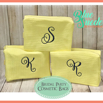 Personalized Cosmetic Bags - Set of 2 - Waffle Weave Cosmetic Bag | Bridesmaid Gift | Graduation | Bridal Party | Traveling | Bridal Party