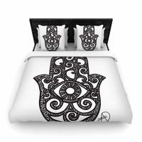"Hippie Polar Bear ""Hamsa Hand"" Black White Woven Duvet"