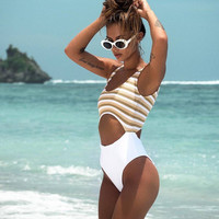 Sexy Hot Summer New Arrival Swimsuit Beach Swimwear Print Stripes Backless Bikini [11553635983]