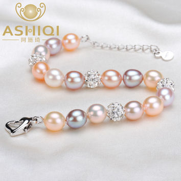 ASHIQI Real Natural multi Freshwater pearl bracelet , handmade crystal ball bracelets jewelry for women gift