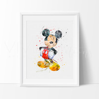 Mickey Mouse 2 Watercolor Art Print