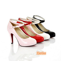 Sexy Women's Thin High Heel Wedge Shallow Ankle-Strap Pumps AU Size 4-7.5 H448