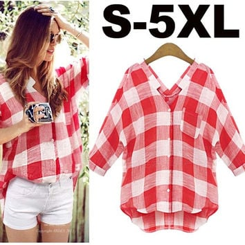 New Arrivals 2015 Summer Casual Plaid Cotton Woman Shirt 2015 Summer Plus Size S - 5XL = 5659527553