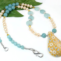 Sunflower Necklace, Blue Amazonite, Yellow Crystals, Freshwater Pearls, Nature Inspired Floral Jewelry, One of a Kind, Statement Jewelry