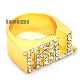 LMFONRC HIP HOP FASHION ICED OUT SOLID SWAG TRILL ENTERTAINMENT GOLD PLATED RING N007G
