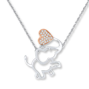 Elephant Necklace 1/15 ct tw Diamonds Sterling Silver/10K Gold