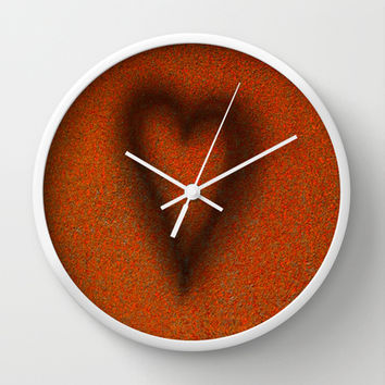 Blow torched love heart Wall Clock by Bruce Stanfield