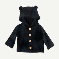 Black Brushed Terry Hooded Jacket