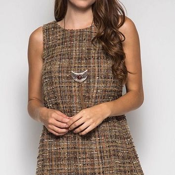 Tweed Shift Dress - Taupe