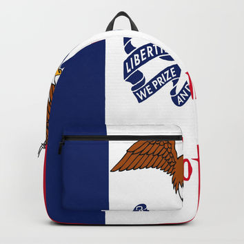 flag of Iowa, america, usa, midwest,Council Bluffs, Iowan,Des Moines,Cedar Rapids,Davenport,sioux Backpacks by oldking