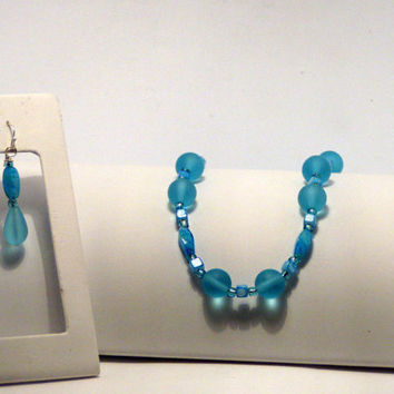 Aqua Sea Glass Necklace and Earrings  Both for 25 Dollars
