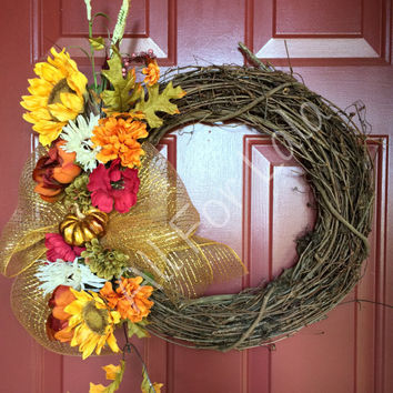 Fall Grapevine Wreath Autumn Wreath Floral Grapevine Wreath Door Decoration