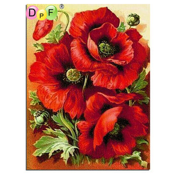 DPF Diy square full Diamond Painting cross stitch Russia Flowers red rose diamond mosaic embroidery canvas home decor painting