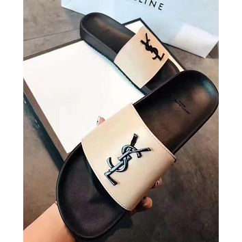 YSL Stylish Female Personality Letter Logo Casual Sandals Slippers Shoe Flip Flops White I