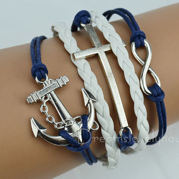 Christmas gift, Silvery Cross Infinity Charm Bracelet, White Braided leather cord,Blue leather cord CB-6-1