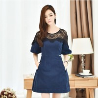 New Arrivals : Denim A-line Mini Dress with Lace Shoulders and Neckline YRB0770