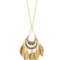 Gold Beaded Leaf Pendant Necklace by Charlotte Russe