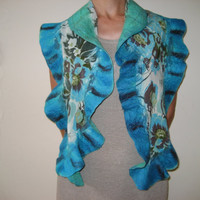 SALE Nuno Felted Scarf Shawl: Turquoise, Mint, Teal, Green, Wool, Vintage Silk. OOAK. Splendid, Light and Bright. Gift under 50