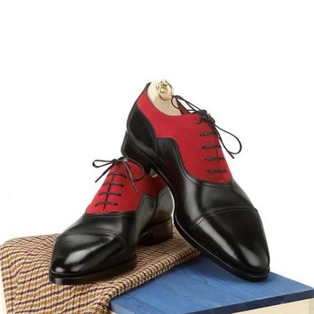 Men Oxford Two Tone Black Red Laces Suede & Genuine Leather Shoes